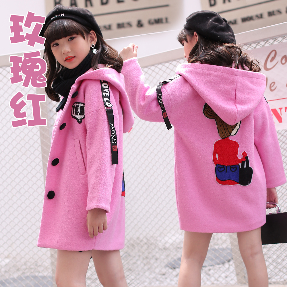Wool & Blends girl Woolen jacket coat red pink cute hooded outerwear for age 4 5 6 7 8 9 10 11 12 13 14 years children clothing aveda green science masque age 8 5 oz
