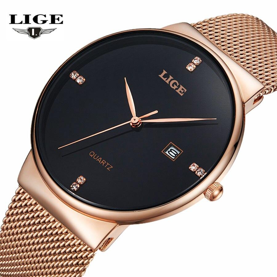 Prix pour LIGE De Luxe Marque casual Montres Hommes D'affaires Simple Quartz Montre Homme Maille bracelet Date De Mode Or Noir Horloge relogio masculino
