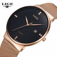 LIGE Luxury Brand Watches Men Simple Business Quartz Watch Man Mesh Strap Date Waterproof Gold