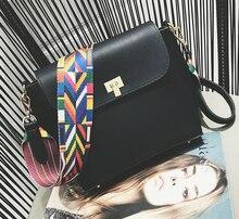 Klassische Heißer Verkauf Frauen Leder Mini umhängetaschen Einfache Klappe Schlinge Crossbody Messenger Bags Bunte Breiten Gurt Handtasche Geldbörsen
