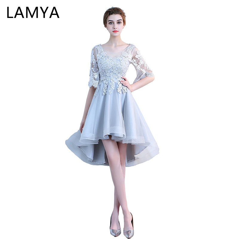 LAMYA Cheap High Low Prom Dress With Half Lace Sleeve Princess Evening Party Dresses Women Formal Gown Vintage vestido de festa