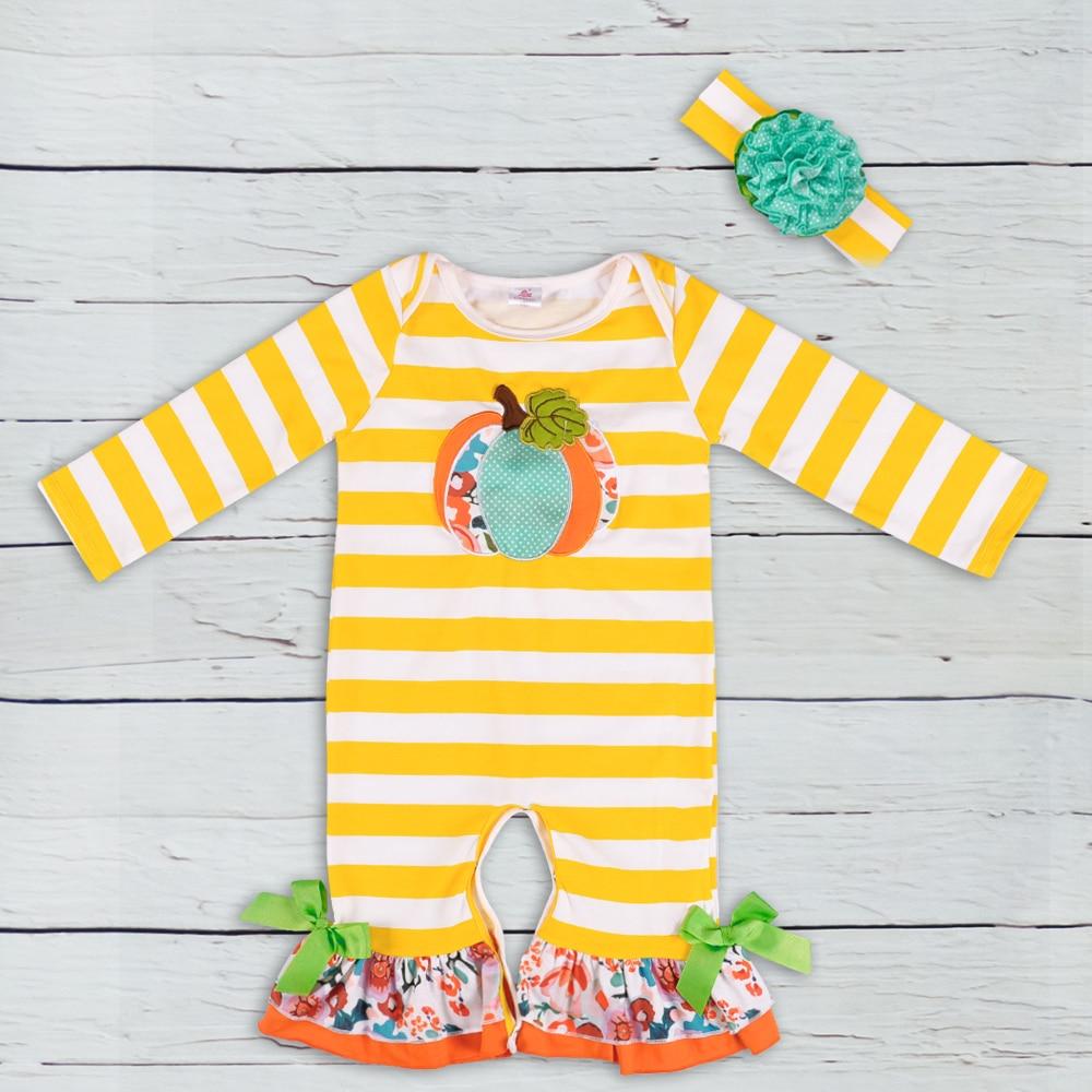 CONICE Brand Yellow Stripe Long Sleeve Halloween Orange Pumpkin Clothes Newborn Baby Girl Boy Rompers wholesale