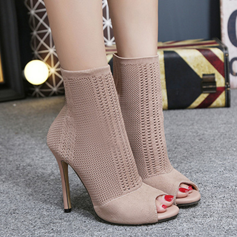 New women ankle fashion boots peep toe stretch fabric slip on shoes super high heel 11cm for spring autumu black green pink 2018 new superstar flock runway peep toe slip on fashion brand shoes wedges autumn spring lazy zipper mid calf boots for women