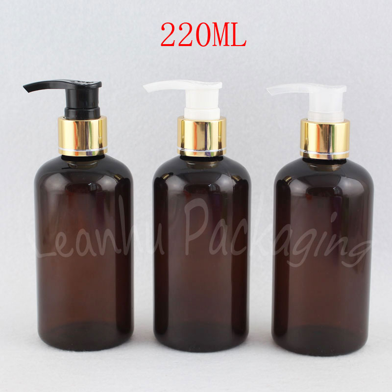 220ML Brown Round Shoulder Plastic Bottle , 220CC Empty Cosmetic Container , Shower Gel / Lotion Sub-bottling (24 PC/Lot )