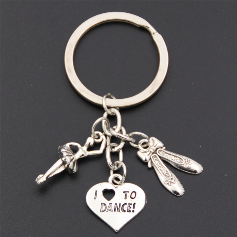 1pc Antique Silver ballet dancer ballerina with dance shoes pendant key ring heart I love to dance charms keychain jewelry