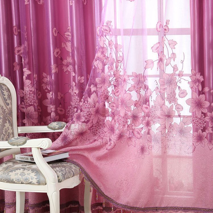 Window Treatment Luxury Curtains+Tulle Beads Purple Brown 100 ...