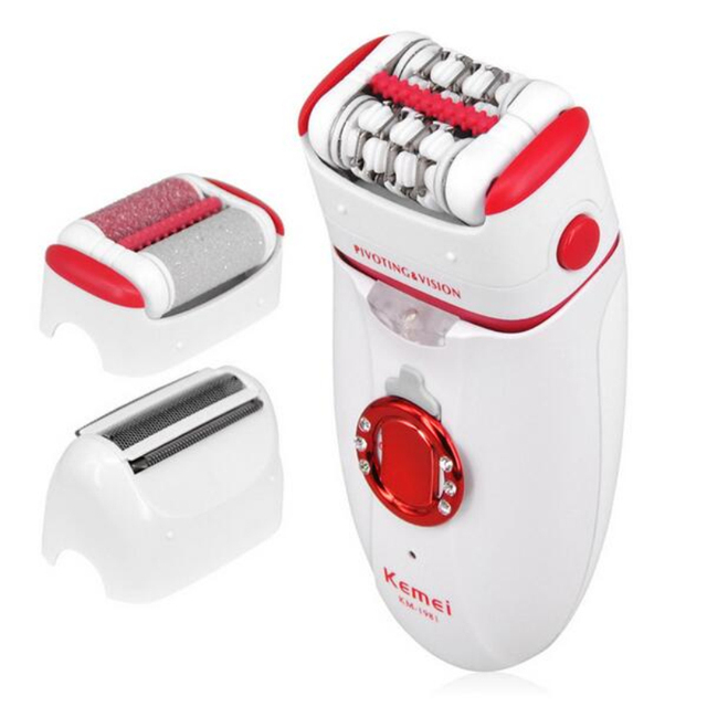 KM-1981 3-IN-1 Women Electric Callus Remover With Extra Epilator Shaving Head
