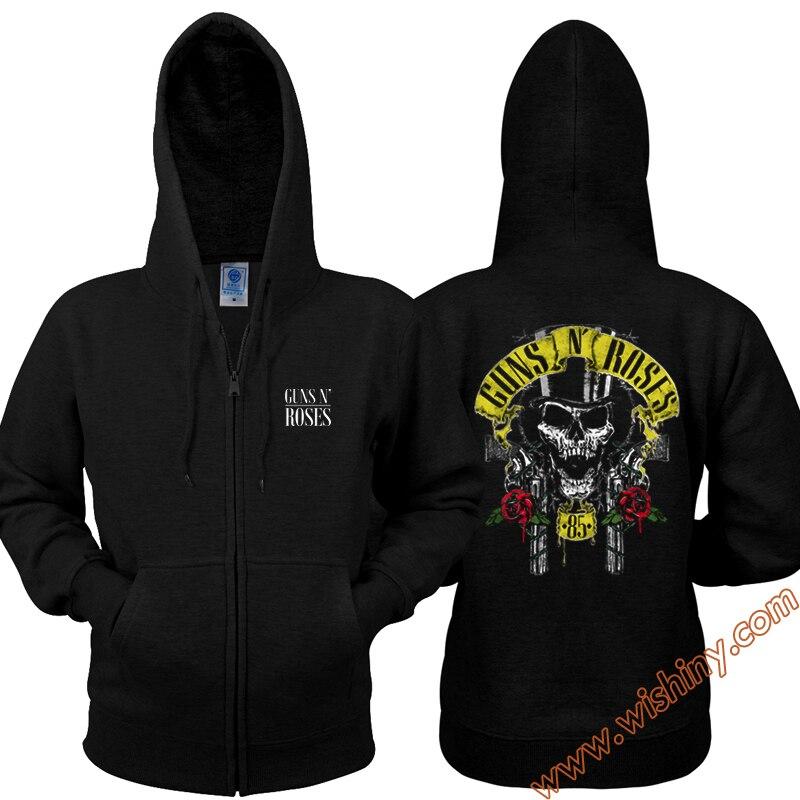 Rock Guns N Roses Zip Zip Hoodies Black Skull Heavy Metal Band Sweatshirts