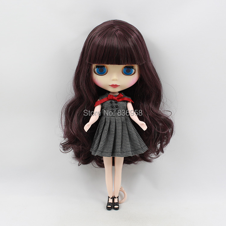 Free shipping factory icy blyth doll licca 135/950 dark purple hair with bangs matte frosted face normal body 1/6 30cm gift toy цена
