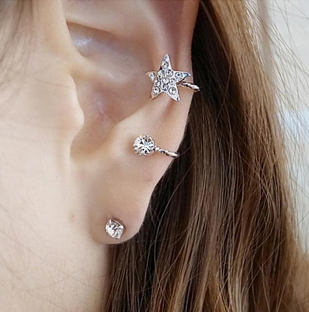 5pcs Left Clip Earrings Elegant Full Rhinestones Star Clips Sweet Ear Cuff For Womens
