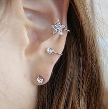 5PCS Left Clip Earrings Elegant Full Rhinestones Star Earrings Clips Sweet Earrings Ear Cuff For Womens Girls Nightclub Casual