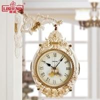 Tuda Free Shipping Double Wall Clock Modern Wall Clock Creative Personality Home Decor European style Retro Watch