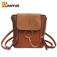 Double Zipper Chain Ring Shoulder Crossbody Bags For Women Vintage Nubuck Leather Bags Women Handbags Famous
