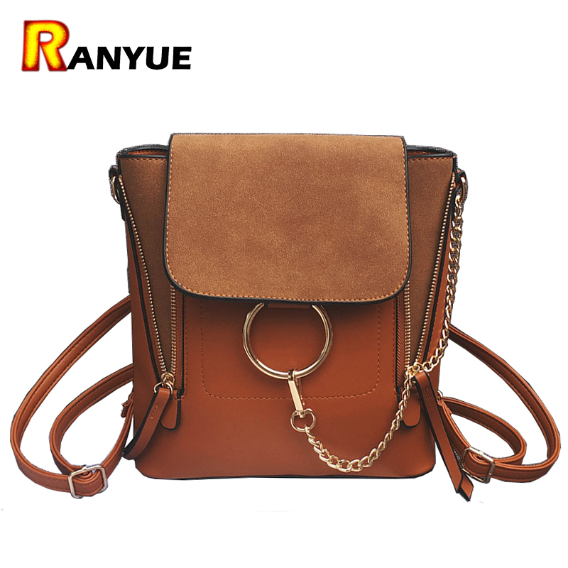 Double Zipper Chain Ring Shoulder Crossbody Bags For Women Vintage Nubuck Leather Bags Women Handbags Famous