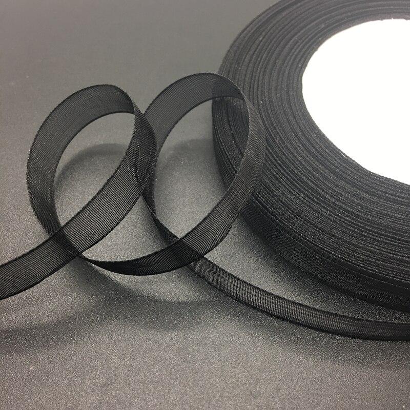 50 ярдов/рулон 5/8 «мм 15 мм черный органза лента бант свадебные украшения кружева ремесла