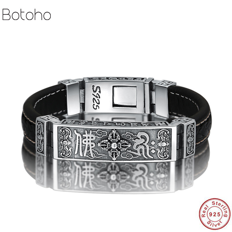 S925 Thai argent lourd Bracelet pour hommes hommes S925 en argent Sterling Bracelets Bracelets hommes bijoux cadeau d'anniversaire en argent cuir