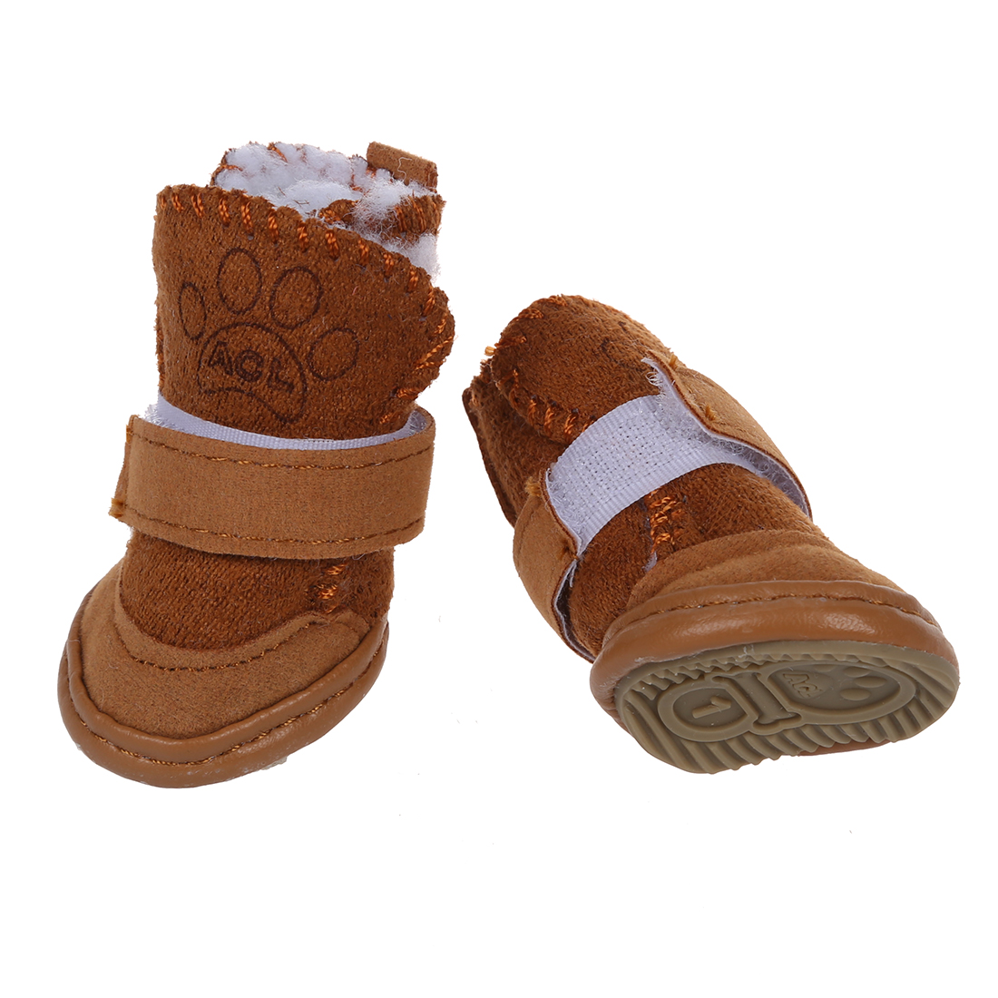 HOT Pet Dog Snow Shoes Warm Winter Boots Protective Booties Set of 4 Coffee Size 1