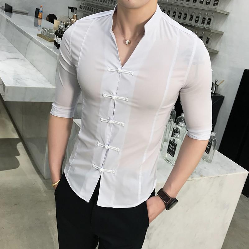Classic Pan Kou Design Men Shirt Hot Sale Chinese Style Stand Collar Tuxedo Shirt Men Slim Fit Half Sleeve Social Shirts Dress