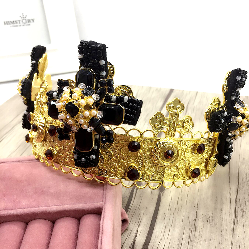 HIMSTORY Vintage Black Rhinestone Beads Cross Crown Wedding Hair Accessories Luxury Crystal Queen King Crowns Bridal Tiaras in Hair Jewelry from Jewelry Accessories