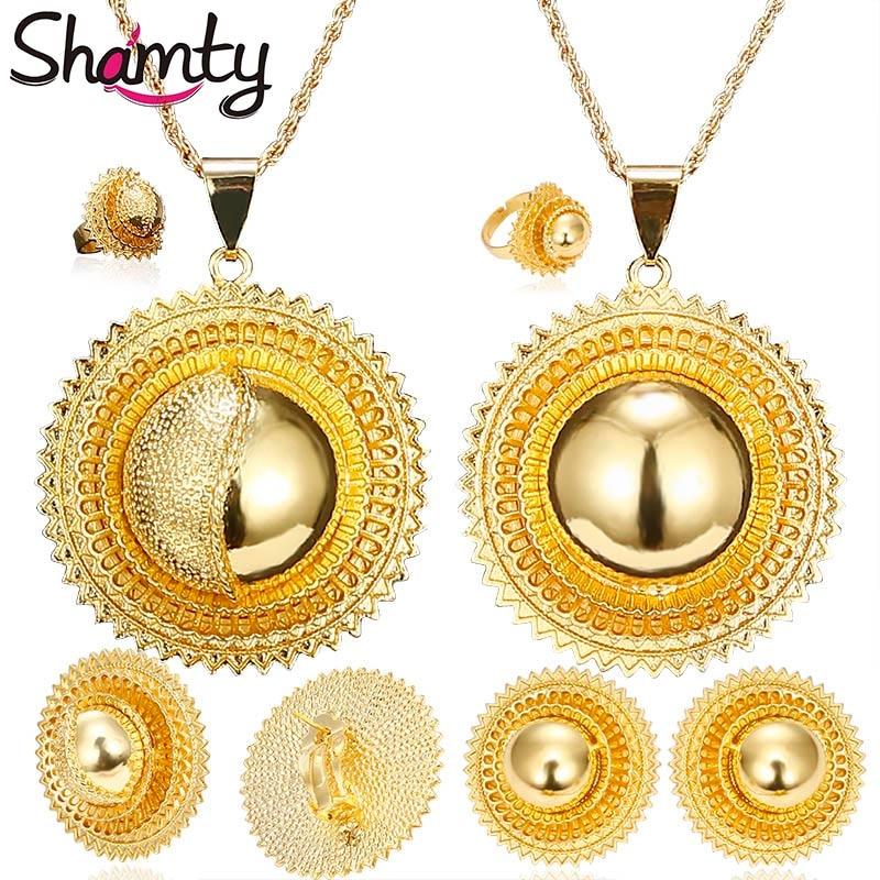 Shamty Big Size / Pendiente de joyería nupcial etíope / Collar / Anillo Color dorado Conjuntos de oro africano / Nigeria / Sudán / Eritrea / Kenia / Boda