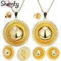 Shamty Tamaño Grande/Ethiopian nupcial Pendiente de La Joyería/Collar/Anillo de Oro Chapado En oro Africano fija/Nigeria/el sudán y Eritrea/Kenia/de La Boda