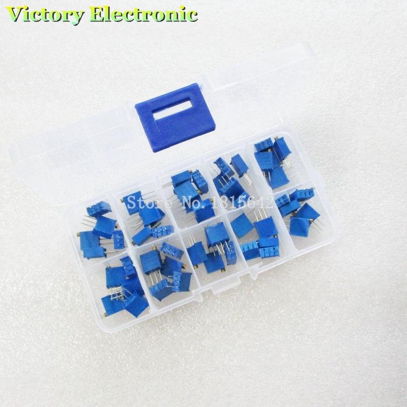 Potenciómetro multigiro de alta precisión, 3296W, 3296 resistencia Variable 500R 1K 2K 5K 10K 20K 50K 100K 200K 1M, 50 unidades por lote