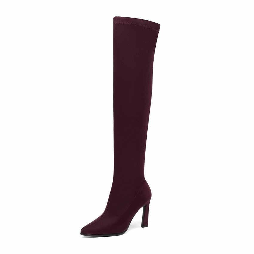 QUTAA 2020 Diz Üzerinde Çizmeler Tırnak Topuklar üzerinde Kayma Sonbahar Kış Kadın Ayakkabı Sivri Burun Platformu Streç Uzun Çizmeler boyutu 34-43