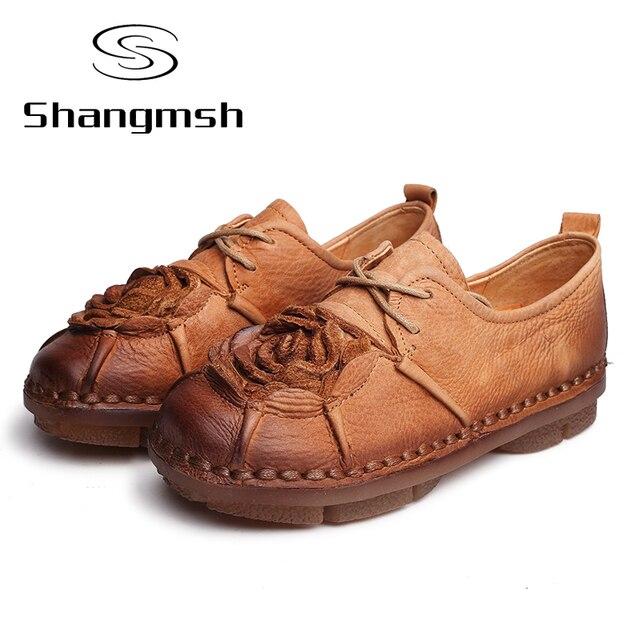 Vintage Flower Loafers Women Shoe Handmade Casual Shoe Woman Genuine Leather Soft Flat Shoes Autumn Driving Shoe Women Flats