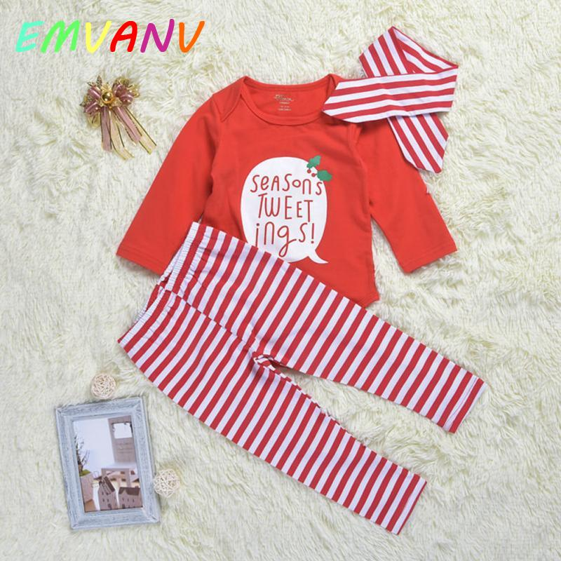 Hot sales Baby Boys Spring Autumn Clothes Set Girls Infants romper+headband+stripe Pants Suit Letters Patter Clothing Costume