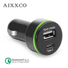 AIXXCO [USB Type C Car Charger] Quick Charge 3.0 Car Charger with Dual Reversible USB Ports For LG G5,Galaxy S7