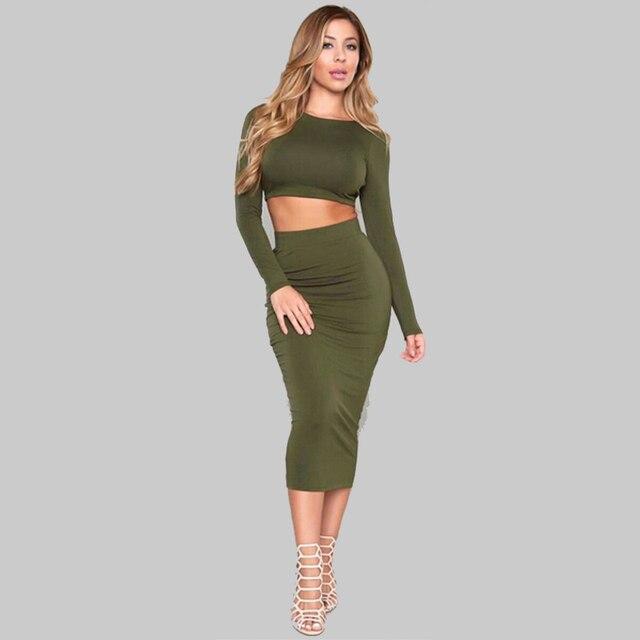 07388a039db3b Hot Sale 2015 Autumn Womens Long Sleeve Sexy Club Bandage Bodycon dress 2  Piece Set Women Dresses vestidos
