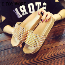 E TOY WORD 2019 Fashion women slippers Summer Bling Rhinestone Lady Sandals Platform Golden Silver Shoes Women Beach Slides