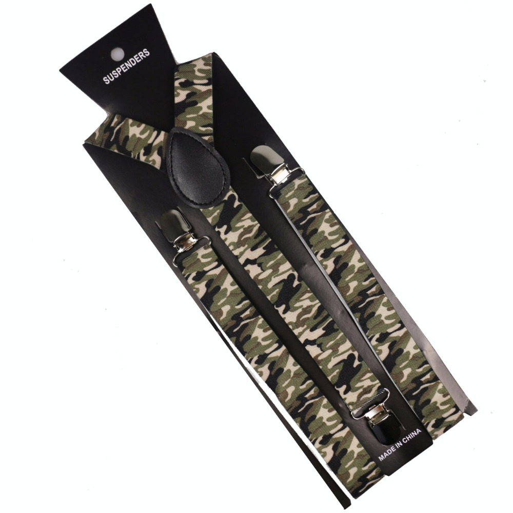 Winfox New Fashion 1 Inch Wide Army Green Men Women Unisex Clip-on Camouflage Suspenders Elastic Braces Camo