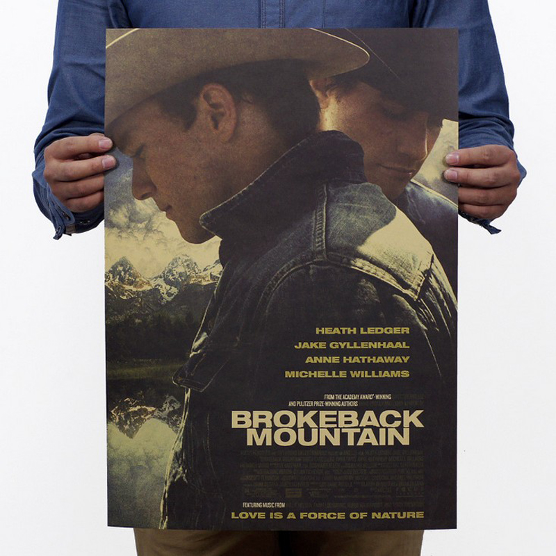 Free Shipping,Brokeback Mountain/Heath Ledger's Classic Movie/kraft Paper/bar Poster/Retro Poster/decorative Painting 51x35.5cm