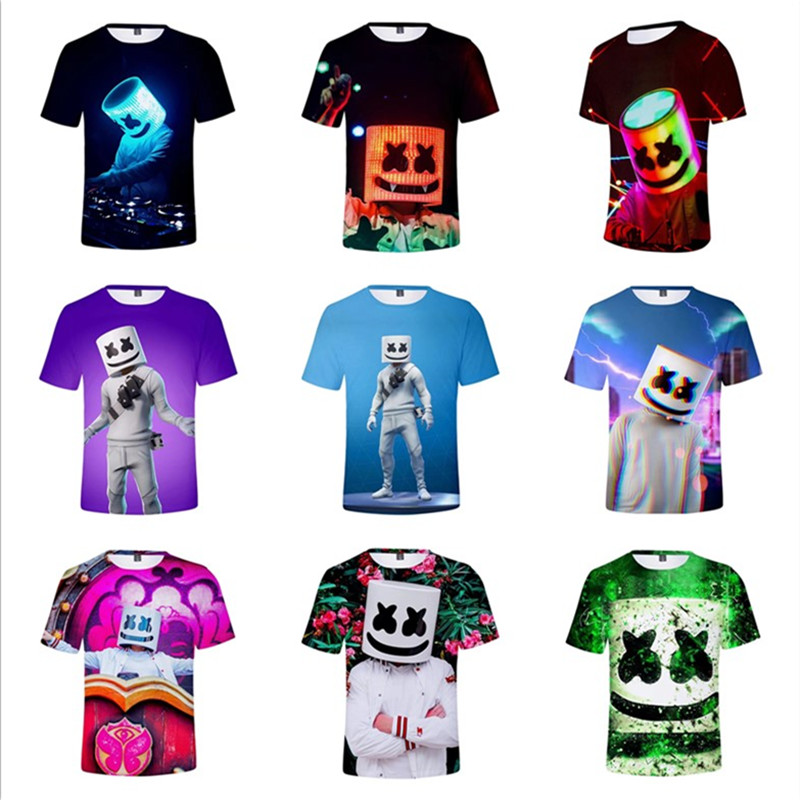 DJ Marshmellow T-shirt 9 color ZSQH DJ Marshmello new style Cosplay Costume For women&Men Marshmallow costume boy and girl