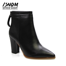 Superstar Snap Ankle Boots Hot Sale Designers Winter Boots Autumn Pointed Toe High Heels Women's Shoes Genuine Leather Female