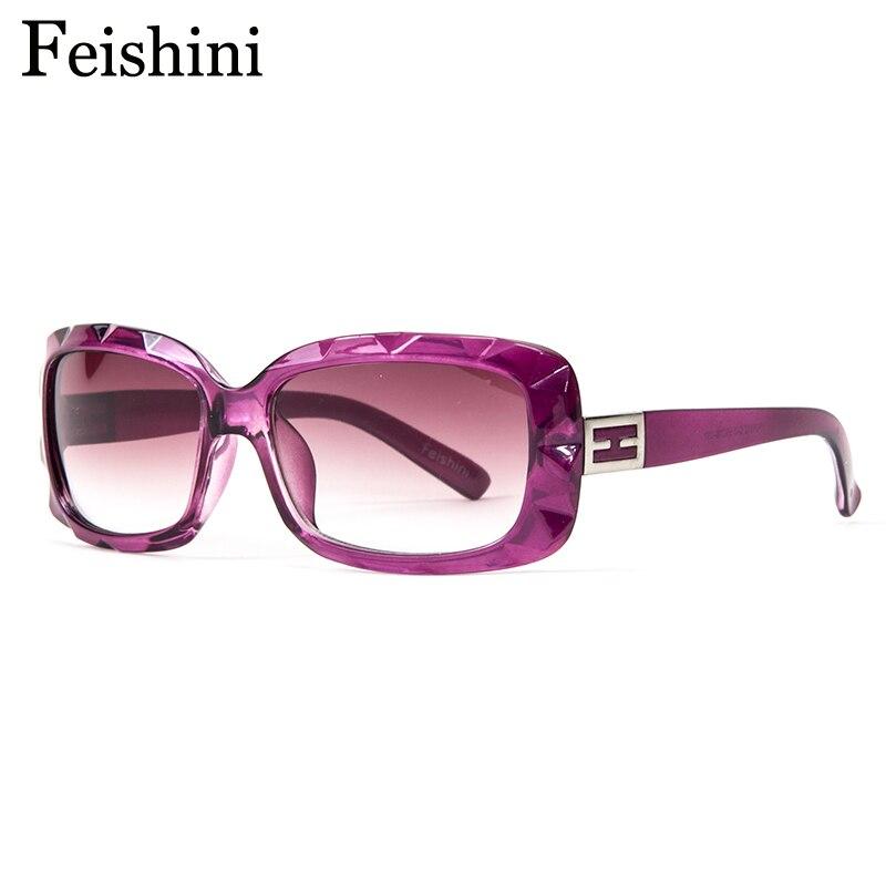 FEISHINI Hochwertige PC Objektiv Kleine Gesicht Rechteck Sonnenbrille Frauen Vintage UV400 Schützen Sehvermögen Gläser Markendesigner