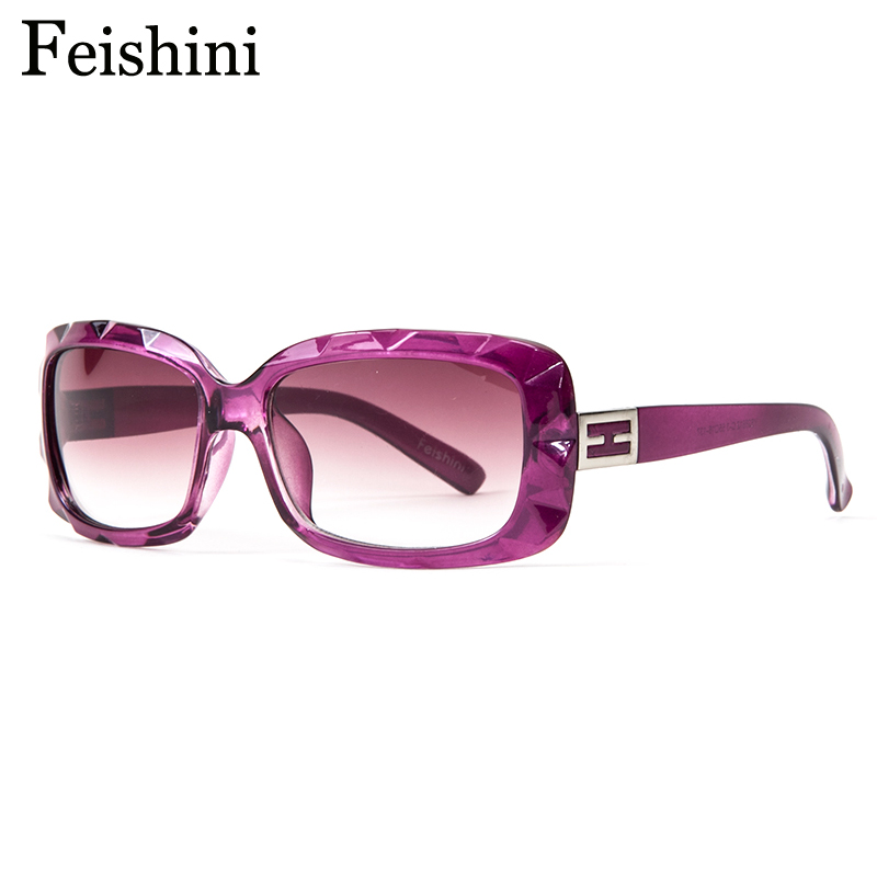 Feishini alta calidad lente PC pequeño Cara rectángulo Gafas de sol mujeres vintage UV400 proteger la vista Gafas marca