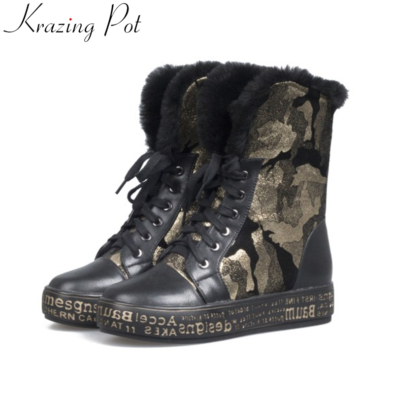 krazing pot 2018 cow suede round toe patterns leather shearling Winter med heels snow boots lace up platform mid-calf boots L07
