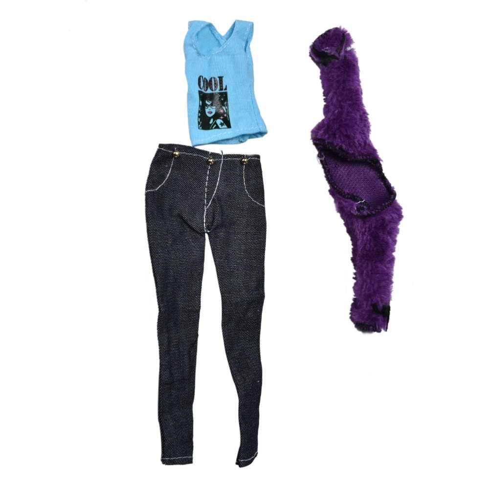 3 ピース/セットギフト Diy の子供のおもちゃ子供の人形アクセサリー毛皮紫コートブルーベストジーンズパンツスーツバービー人形女の子