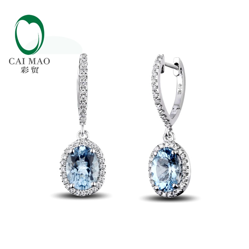 Caimao Jewelry Classic 14K White Gold Blue Aquamorine Diamond Wedding Earrings