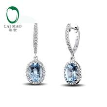 Caimao ювелирные изделия классические 14 К белое золото синий Aquamorine& Diamond свадебные серьги
