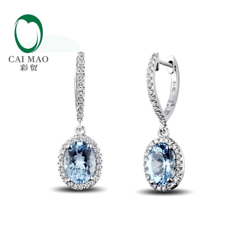 Caimao bijoux classique 14 K or blanc bleu Aquamorine & diamant boucles d'oreilles de mariage