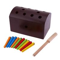 Wooden Block Catching Worm Magnetic Toys For Children Wooden Box Game Baby Hands Eyes Coordination Exercise Learning Toy
