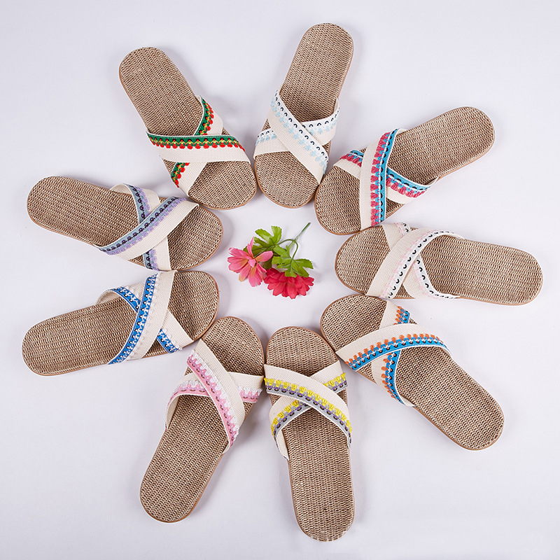 New Summer Women's Linen Slides Indoor Outdoor Non-slip Fashion Sweat-absorbent Breathable Slippers