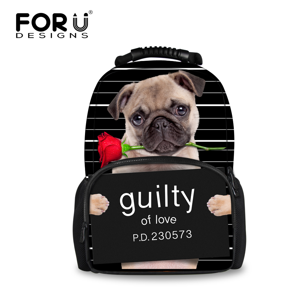 Cute Children 3D Animal Felt Backpack Black Pet Dog Printing Bagpack for Travel Women Kawaii Teen Girls Puppy Pug Backbag