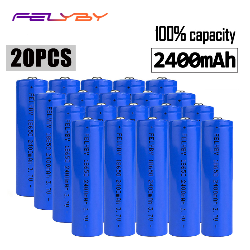 FELYBY 20 pcs 18650 li ion batterie rechargeable batterie marque 100% capacité 2400 mah 3.7 v lithium 18650 Pour Laser stylo lampe de poche