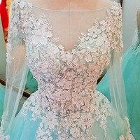 Vestido de Noiva Manga Longa Mintgroen Vintage Trouwjurk 3D Bloemen Lange Mouw Bruidsjurken Plus Size Goedkope Bruid jurken