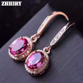 ZHHIEY Natural Pink Topaz Earring Genuine Solid 925 Sterling Silver Real Gem Earrings Women Stone Fine Jewelry