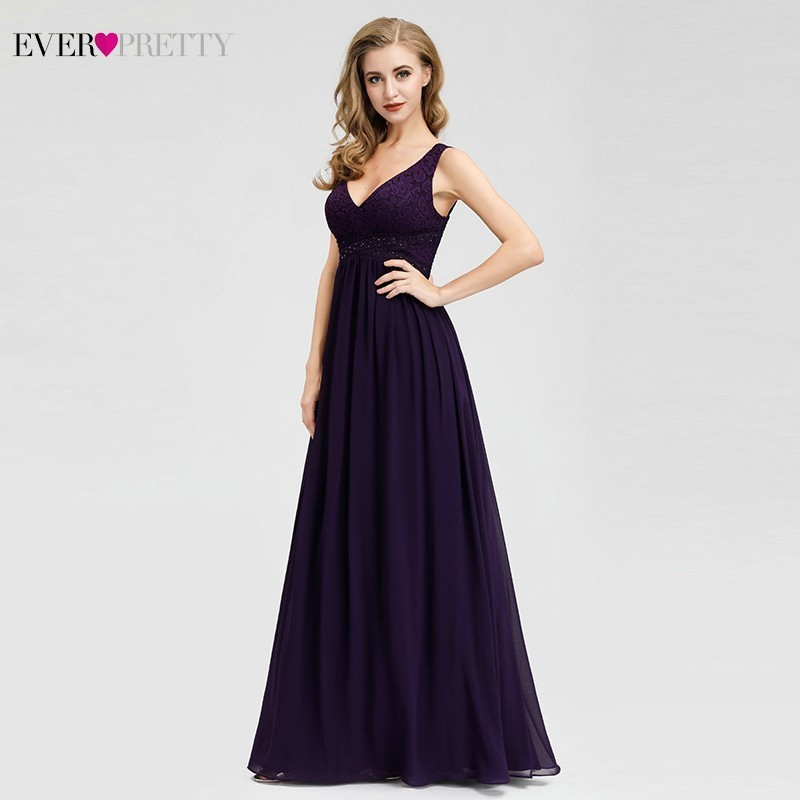 Elegant Dark Purple Bridesmaid Dresses Ever Pretty A Line V Neck Beaded Sleeveless Formal Wedding Guest Dresses Vestido Madrinha in Bridesmaid Dresses from Weddings Events